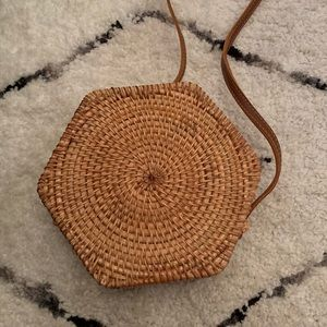 Wooden hexagon purse with leather strap